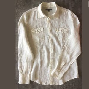 John Varvatos Seamed Linen Ivory Button Shirt M